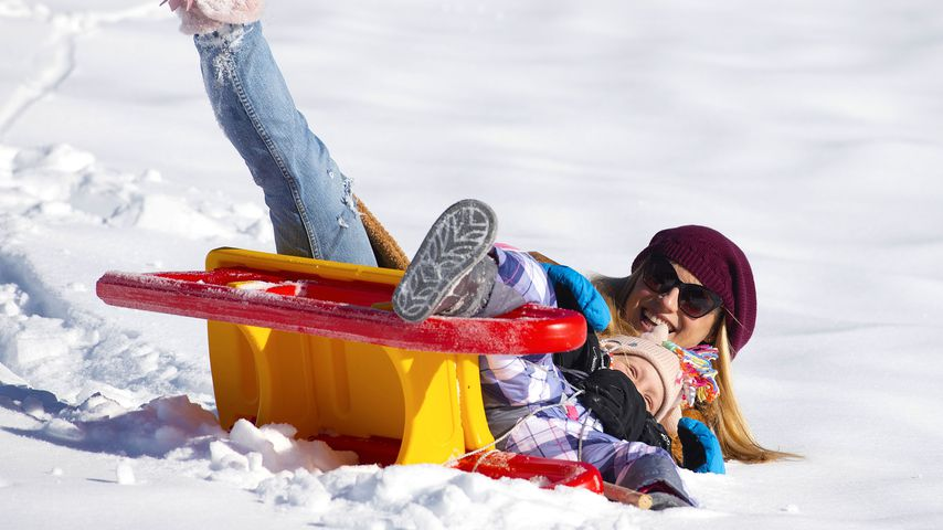 Michelle Hunziker und Tochter Celeste in Val Badia