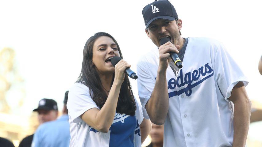 Mila Kunis und Ashton Kutcher beim Baseball in Los Angeles