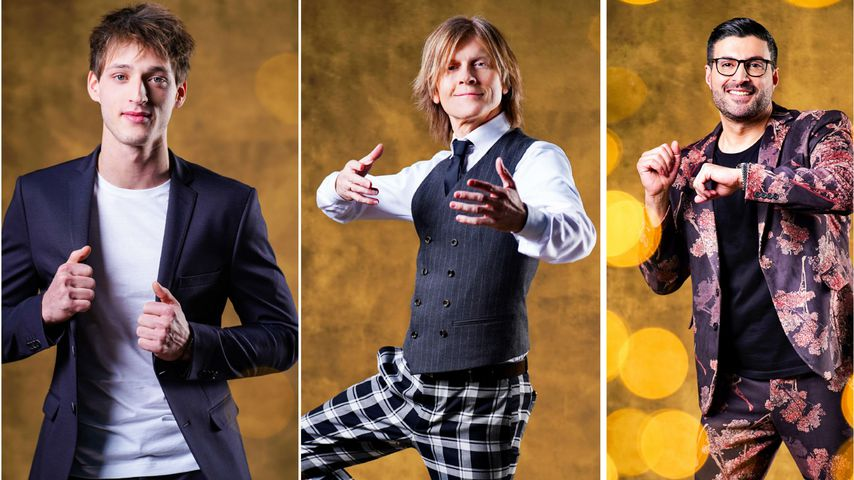 """Collage: Moritz Hans, John Kelly und Sükrü Pehlivan als Kandidaten bei """"Let's Dance"""" 2020"""