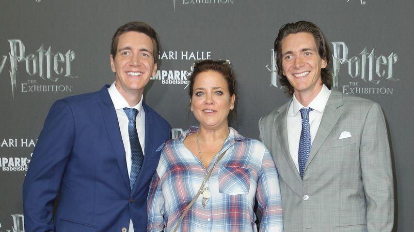 Oliver Phelps, Muriel Baumeister und James Phelps im Oktober 2018 in Potsdam