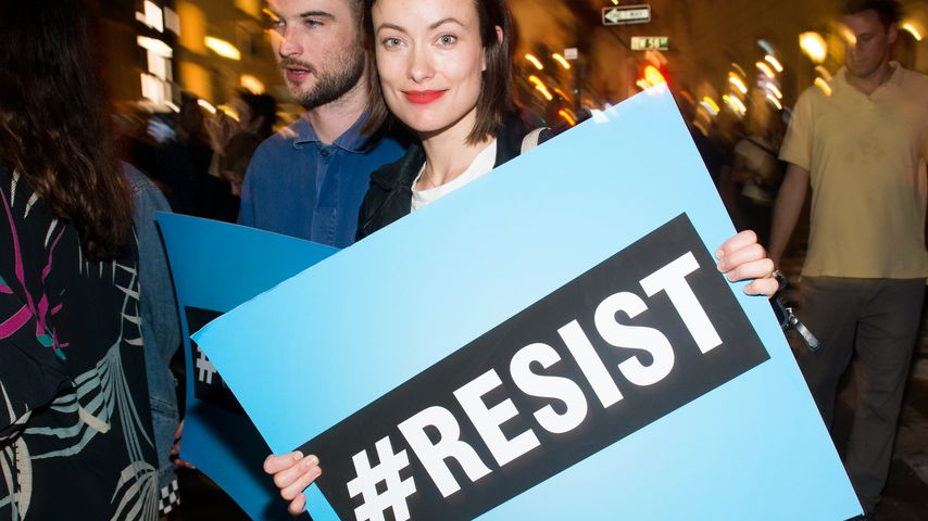 Olivia Wilde bei einem Protest vor dem Trump Tower in New York City