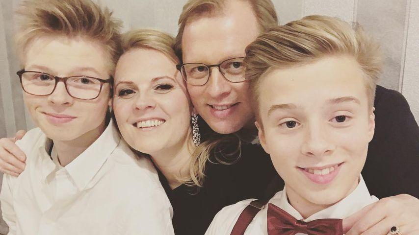Patricia Kelly mit Ehemann Denis und ihren Söhnen Alexander und Ignatius