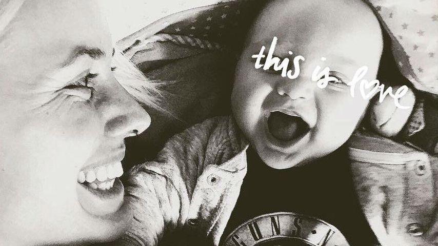 Pia Tillmann und Baby Henry