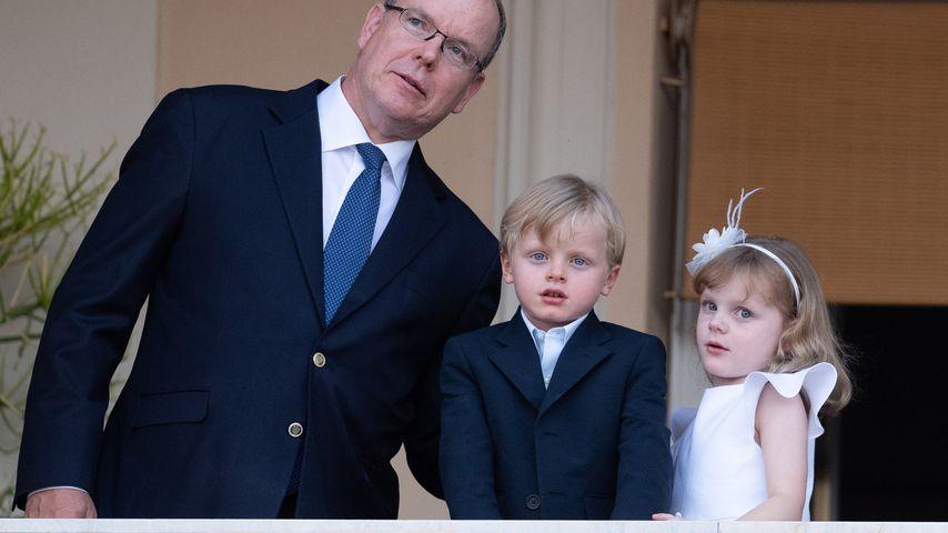 Prinz Albert II. von Monaco mit seinen Kindern Jacques und Gabriella