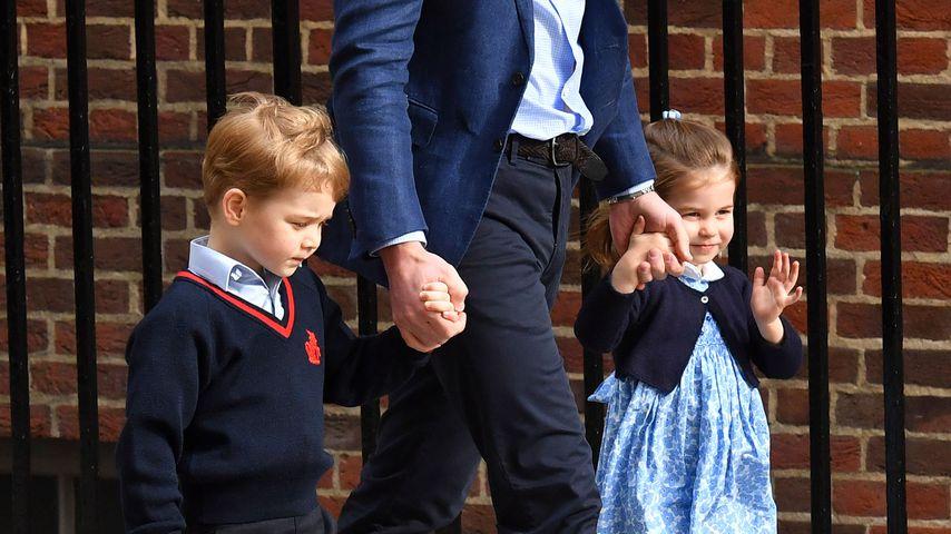 Prinz George und Prinzessin Charlotte mit ihrem Vater Prinz William
