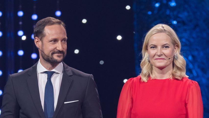 Prinz Haakon und Prinzessin Mette-Marit bei einer Preisverleihung im Januar 2018