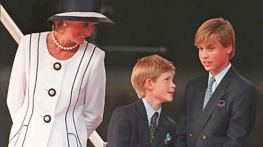 Prinzessin Diana, Prinz Harry und Prinz William im Jahr 1995