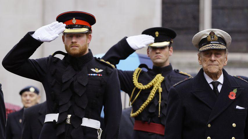 Prinz Harry und Prinz Philip in London, 2015