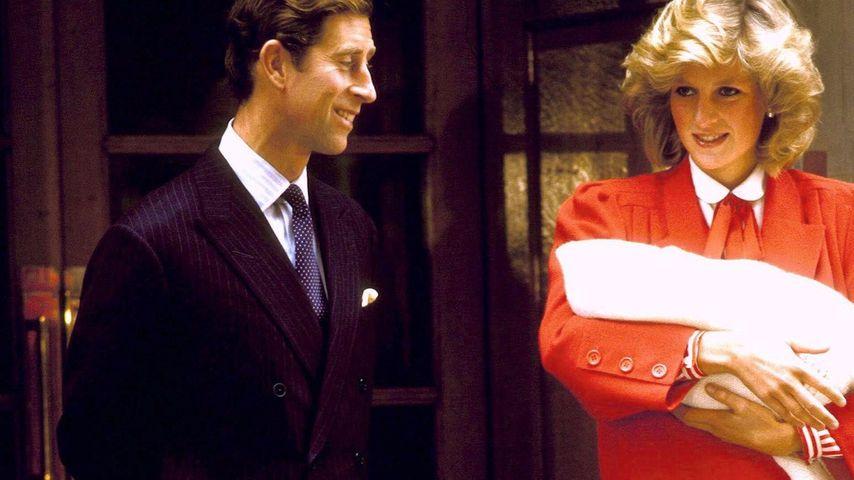 Prinz Charles und Prinzessin Diana mit Prinz Harry 1984