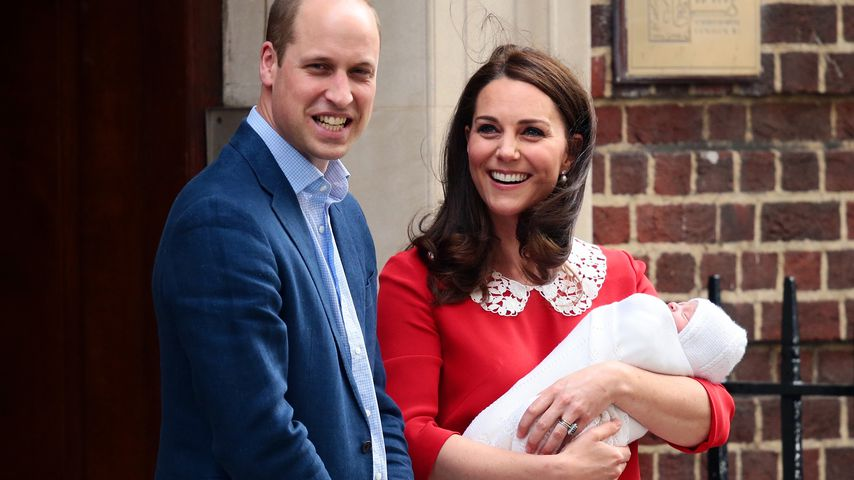 Prinz William, Herzogin Kate und ihr Baby vor dem St. Mary's Hospital