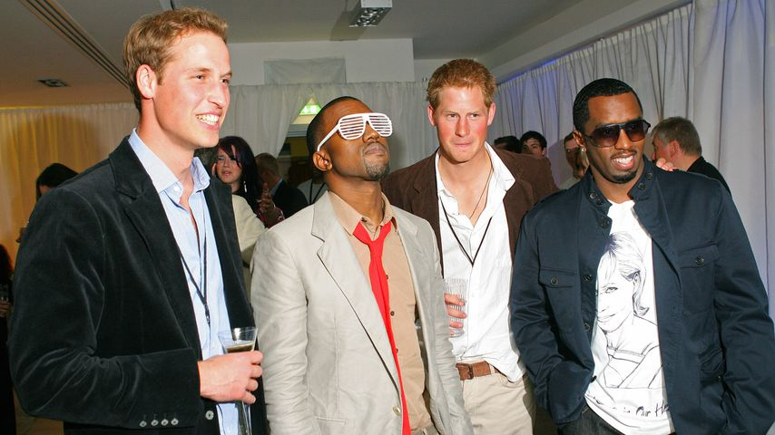 Prinz William, Kanye West, Prinz Harry und P. Diddy im Juli 2007