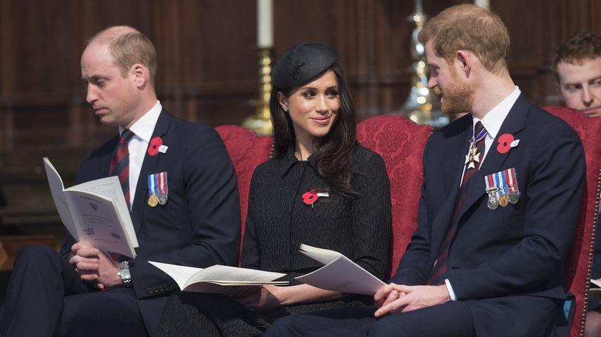 Prinz William, Meghan Markle und Prinz Harry beim Anzac Day Gottesdienst
