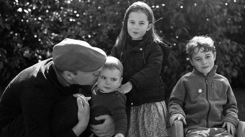 Prinz William mit seinen Kindern Louis, Charlotte und George