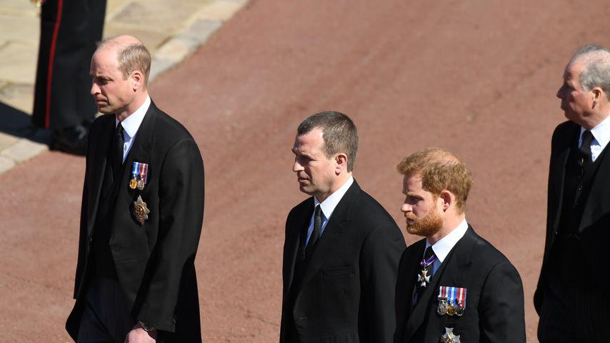 Prinz William, Peter Phillips und Prinz Harry, 2021