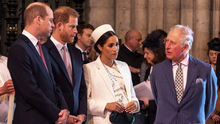 Prinz William, Prinz Harry, Herzogin Meghan und Prinz Charles im März 2019