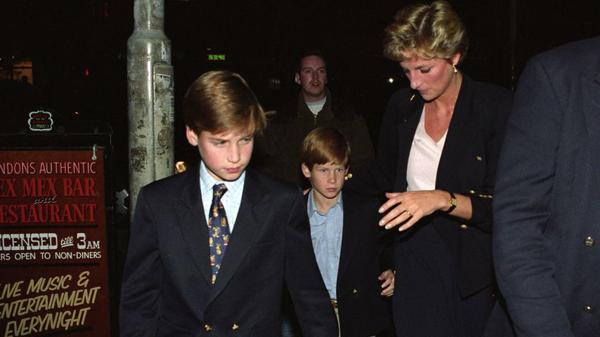Prinz William, Prinz Harry und Prinzessin Diana in London im Oktober 1993