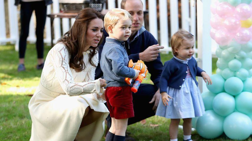 Prinzessin Charlotte, Prinz George, Kate und William bei einer Kinderparty