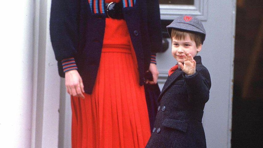Prinzessin Diana und William bei seiner Einschulung 1987