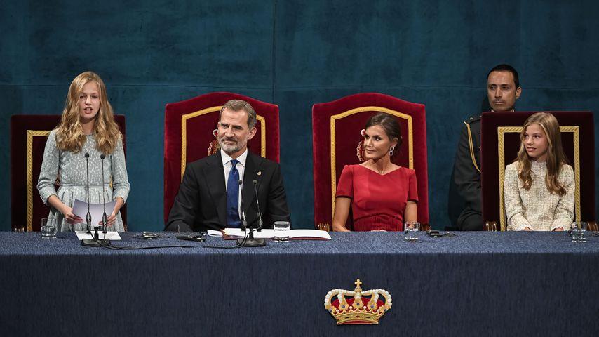 Prinzessin Leonor, König Felipe, Königin Letizia und Prinzessin Sofía 2019 in Oviedo