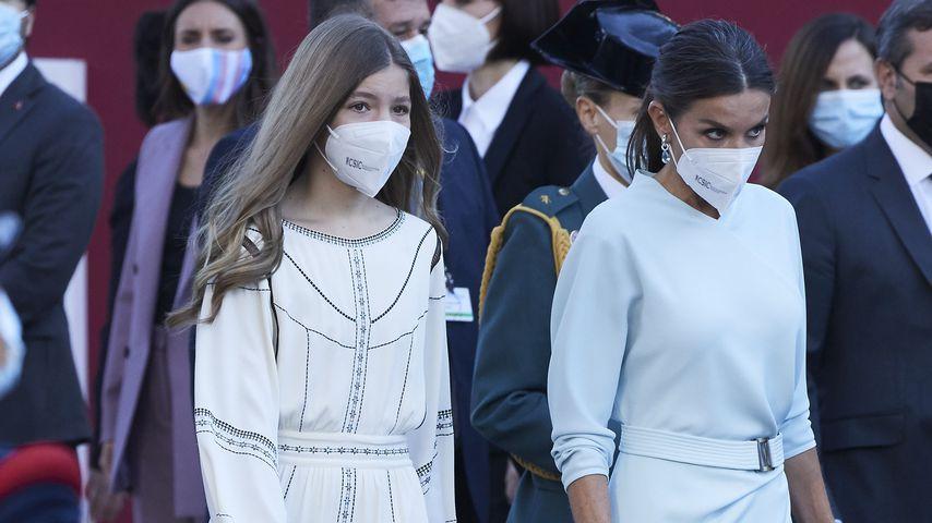 Prinzessin Sofía und Königin Letizia am spanischen Nationalfeiertag, 12. Oktober 2021