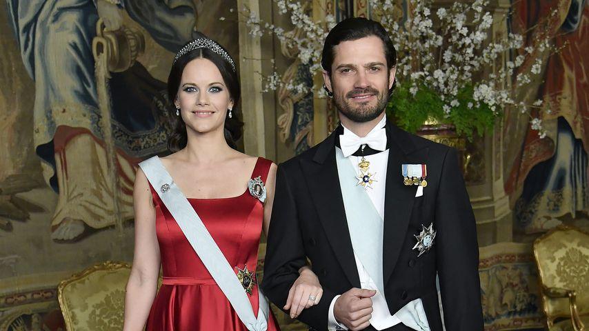 Prinzessin Sofia und Prinz Carl Philip von Schweden bei einem Dinner im Königspalast in Stockholm