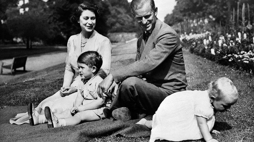 Queen Elizabeth II., Prinz Philip, Prinz Charles und Prinzessin Anne