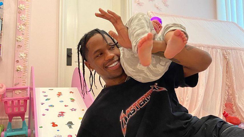 Rapper Travis Scott mit seiner Tochter Stormi Webster