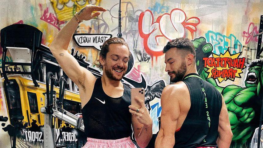 Riccardo Simonetti und sein Fitnesstrainer, Dezember 2019