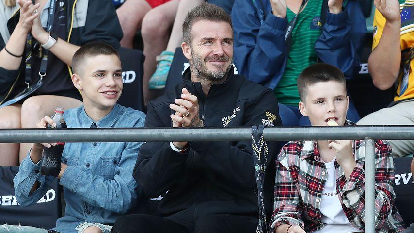 David Beckham mit seinen Söhnen Romeo und Cruz bei den Invictus Games in Sdyney