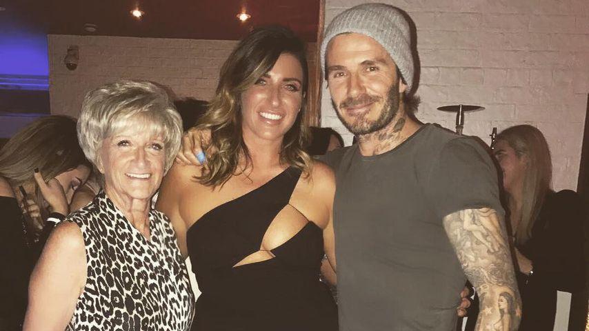 Sandra, Joanne und David Beckham