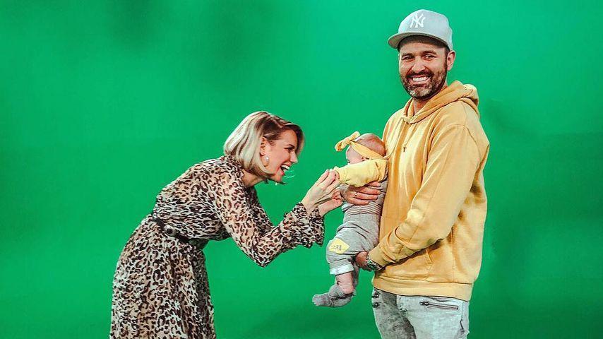 Sandra und Kristof Kuhn mit Baby Leni, Januar 2019