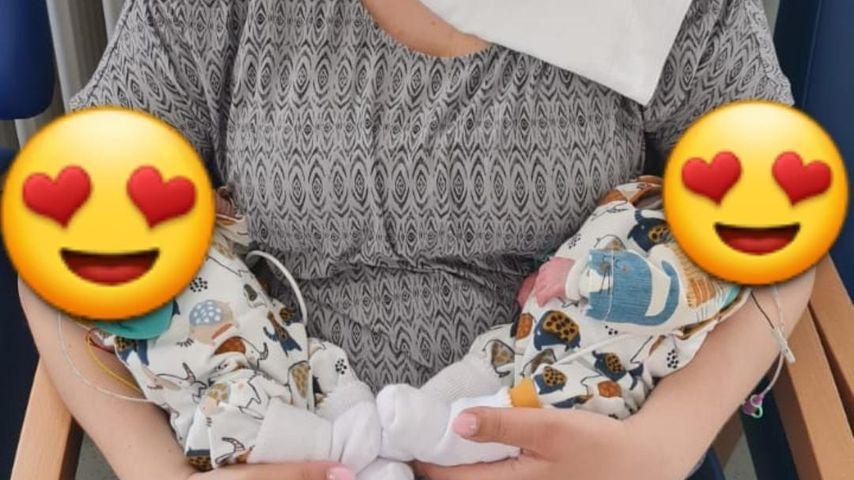 Sarafina Wollny mit ihren Zwillingen