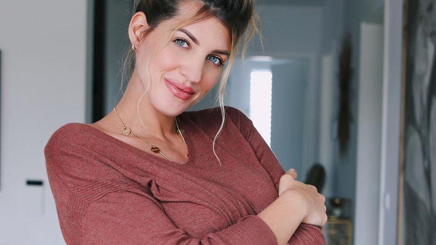 Sarah Harrison in der 34. Schwangerschaftswoche