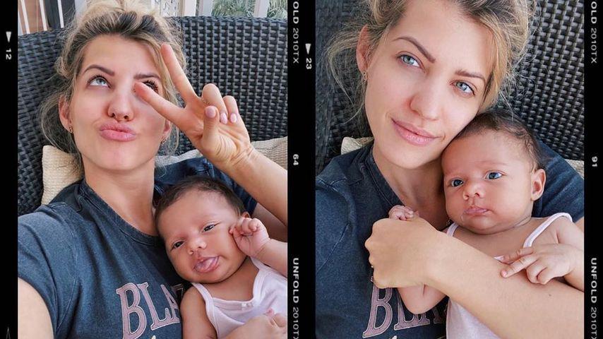 Sarah Harrison mit Töchterchen Kyla, Oktober 2020