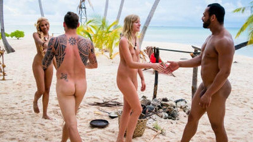 Sarah Joelle Jahnel, Daniel Köllerer, Marlena und Jesse am Strand bei Adam sucht Eva