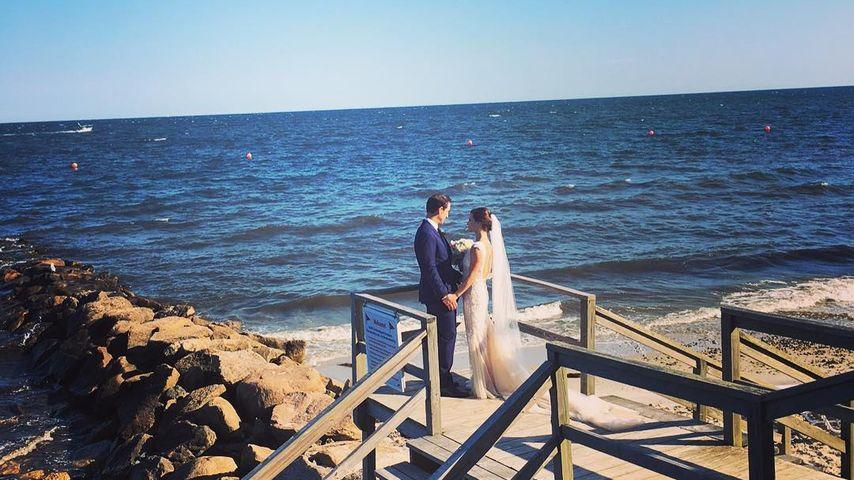 Sasha Cohen und Ehemann Tom May an ihrem Hochzeitstag in Massachusetts