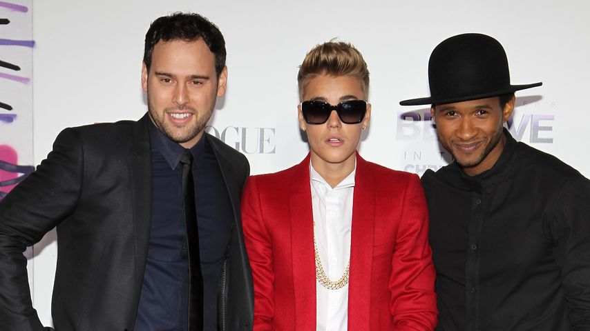 Scooter Braun, Justin Bieber und Usher 2013 in Los Angeles
