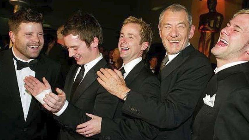 Sean Astin, Elijah Wood, Billy Boyd, Ian McKellen, Dominic Monaghan, v.l.n.r.