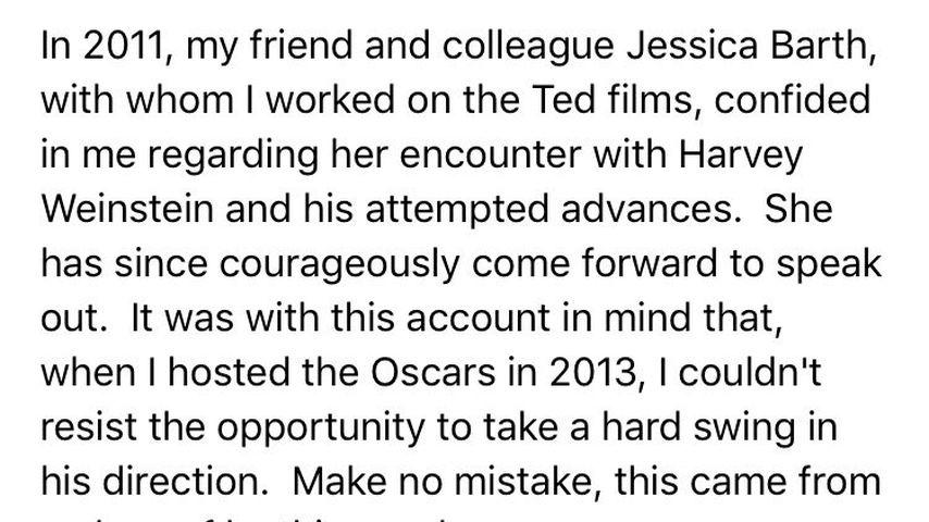 Twitter-Nachricht von Seth MacFarlane über Harvey Weinstein