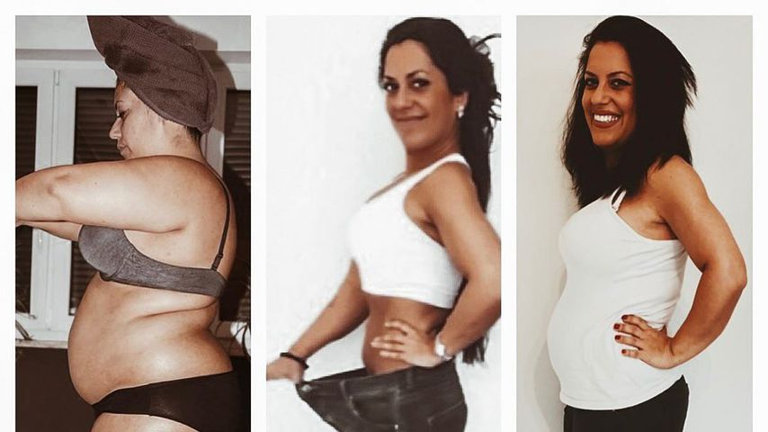 """Collage: Shirin Nikkhah-Shirazi vor ihrer """"The Biggest Loser""""-Teilnahme 2018, danach und heute"""