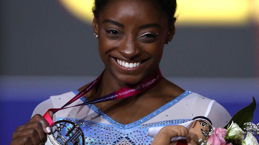 Simone Biles bei der Turn-WM in Doha, Katar
