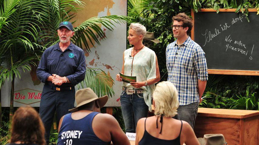 Dr. Bob, Sonja Zietlow, Daniel Hartwich bei der ersten Dschungel-Prüfung 2018