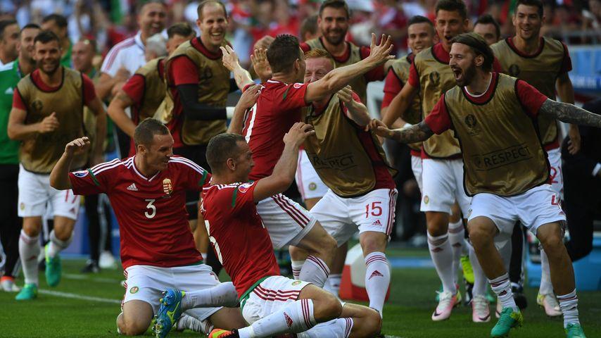 Ungarische Mannschaft beim Spiel Ungarn gegen Portugal bei der EM 2016 in Lyon