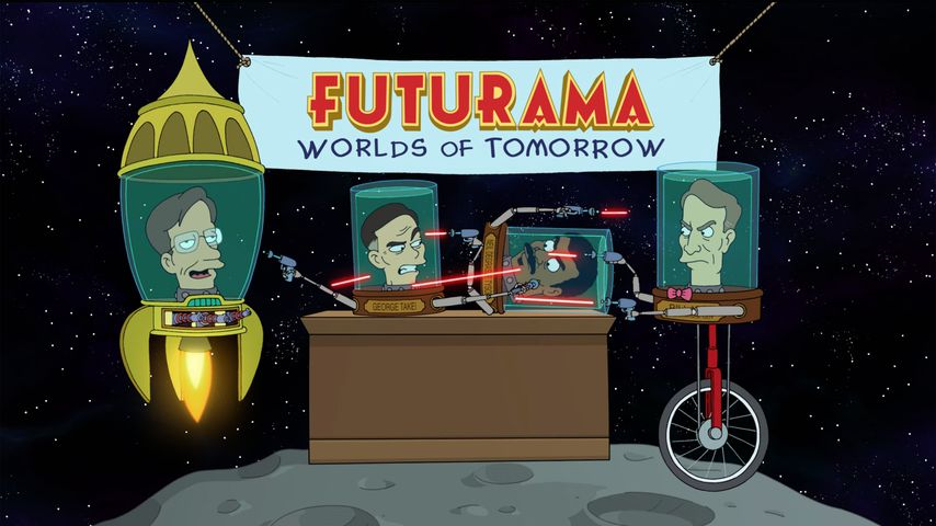 "Stephen Hawking, George Takei, Bill Nye, and Neil Degrasse Tyson in ""Futurama"""