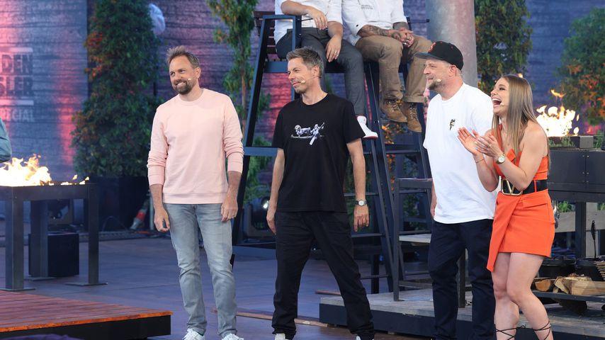 """Steven Gätjen, Michi Beck, Smudo und Lola Weippert bei """"Grill den Henssler"""""""