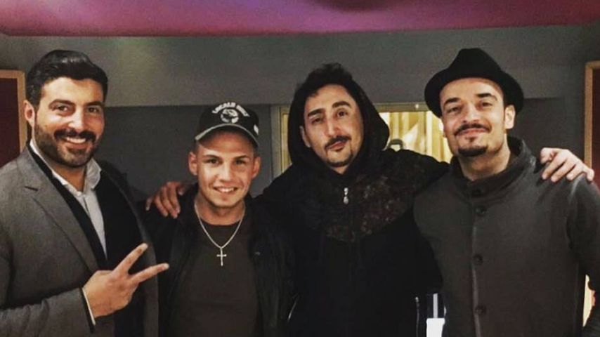 Sükrü Pehlivan, Pietro Lombardi, Eko Fresh und Giovanni Zarrella im Tonstudio