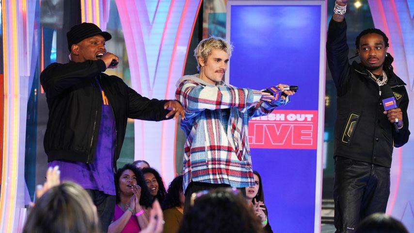 """Sway, Justin Bieber und Quavo bei der Show """"Fresh Out Live"""""""