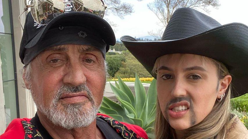 Sylvester und Sophia Stallone im April 2020