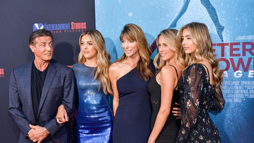 Sylvester und Sistine Stallone, Jennifer Flavin, Sophia und Scarlet Stallone im August 2019