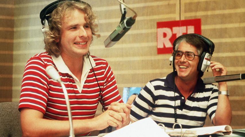 Thomas Gottschalk und Frank Elstner im Hörfunkstudio RTL Luxemburg 1981